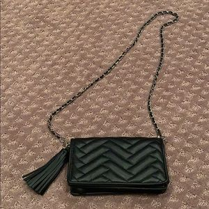 Zara Black faux leather chevron shoulder mini bag